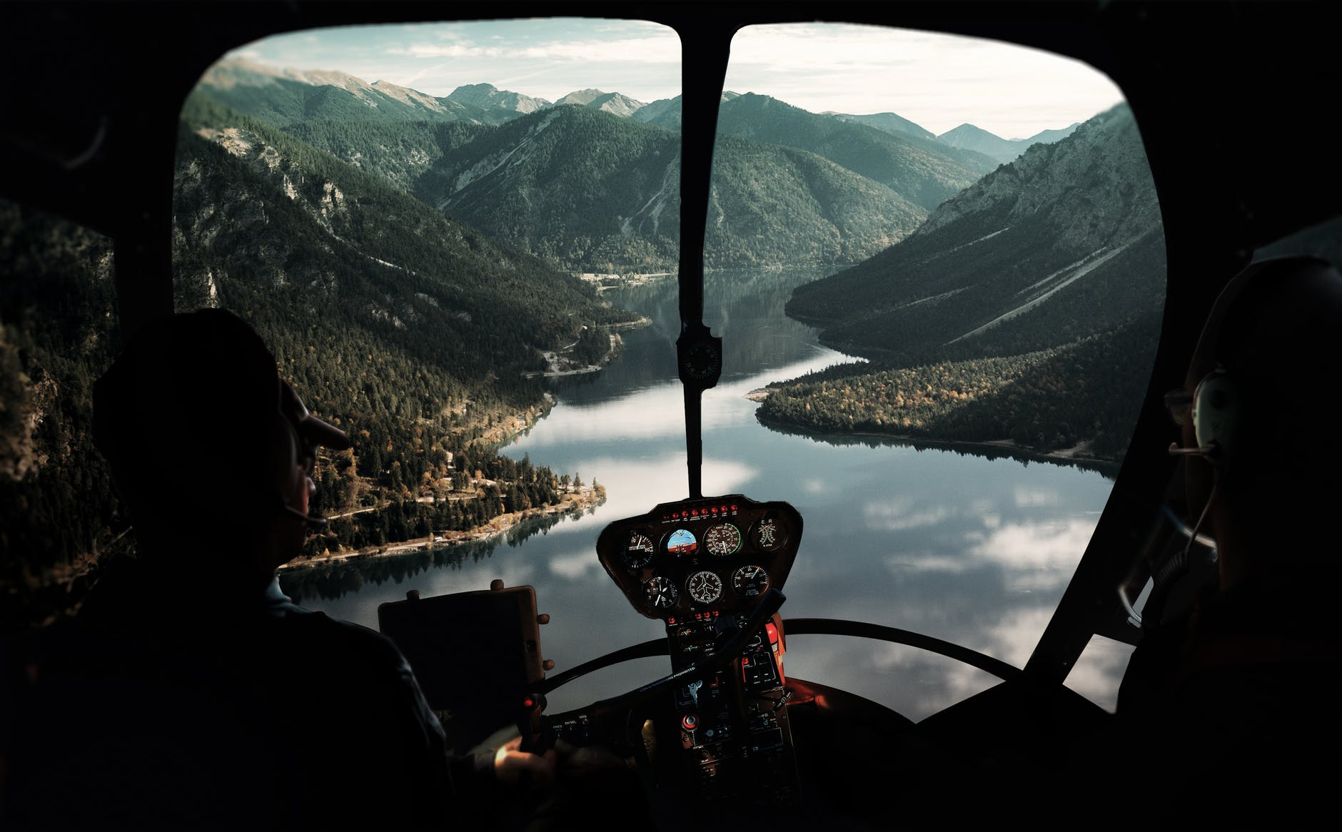 view from helicopter cockpit