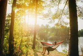man and woman seating on gray hammock beside trees during daytime