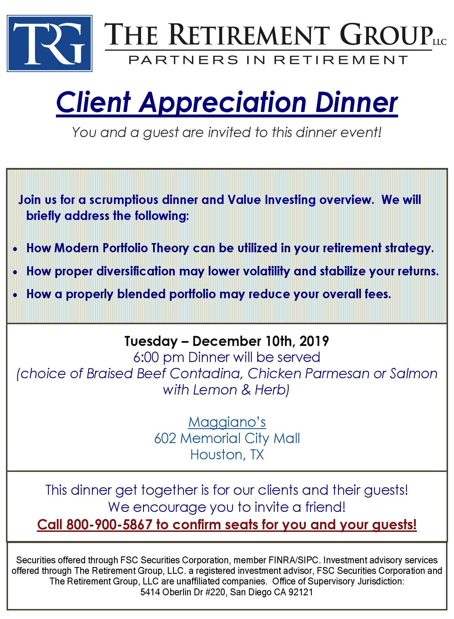 Client Dinner Houston 12-10-19