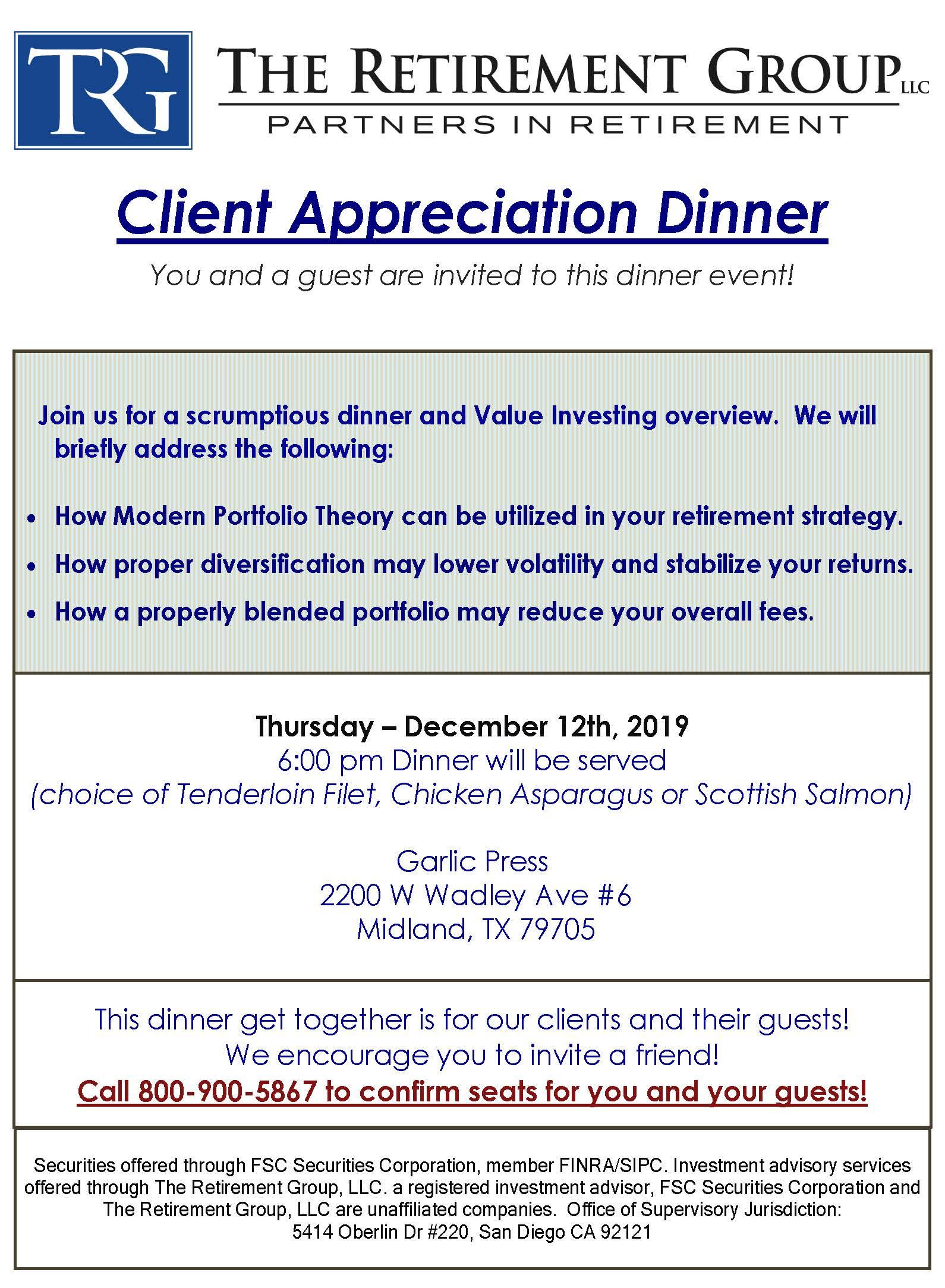 Client Dinner Midland 12-12-19