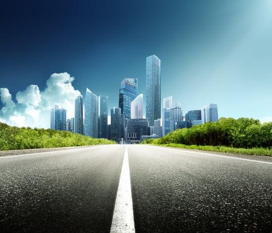 Asphalt road and modern city-1