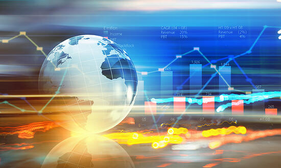 Background digital image with Earth planet and graphs-2