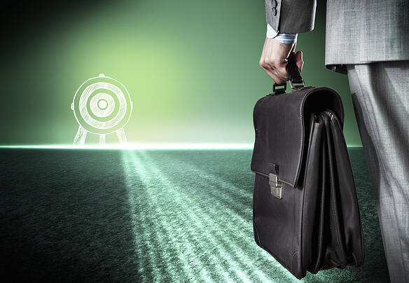 Bottom view of businessman with suitcase in hand-1