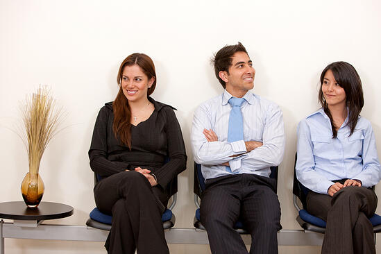 Business people sitting at a waiting room