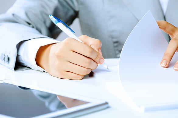 Close up image of businesswoman hands signing documents-2