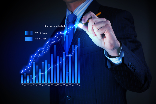 Closeup image of businessman drawing 3d graphics-3