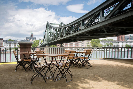 Eiserner Steg Bridge with Cafe Table and Chairs; Frankfurt; Germany;