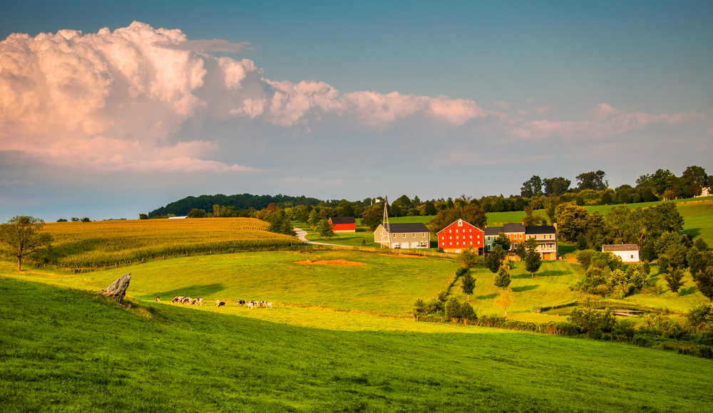 Evening light on farms and rolling hills in Southern York County, Pennsylvania.