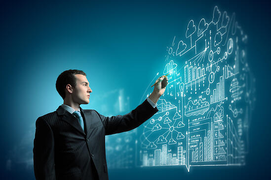 Image of young businessman touching icon of media screen