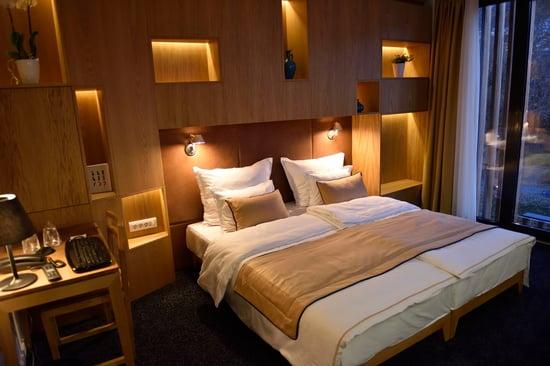 Interior of modern comfortable hotel room-1