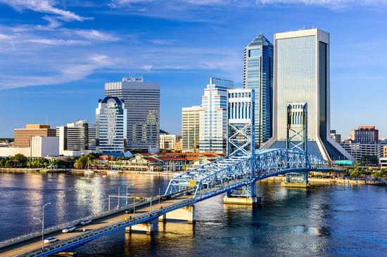 Jacksonville, Florida, USA downtown city skyline on St. Johns River.-1