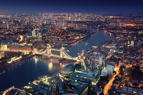 London at night with urban architectures and Tower Bridge-1