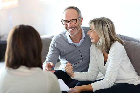 Senior couple meeting financial adviser for investment-3