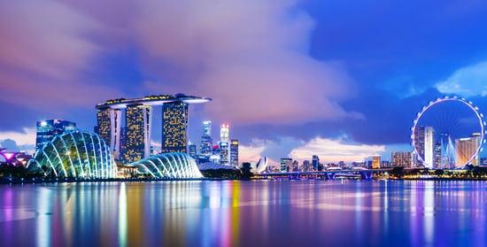 Singapore cityscape during sunset