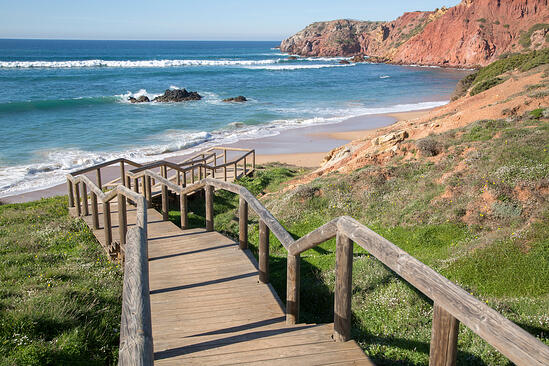 Staircase and Walkway at Amado Beach; Algarve; Portugal-1
