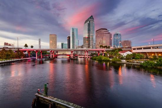 Tampa, Florida, USA downtown city skyline over the Hillsborough River.