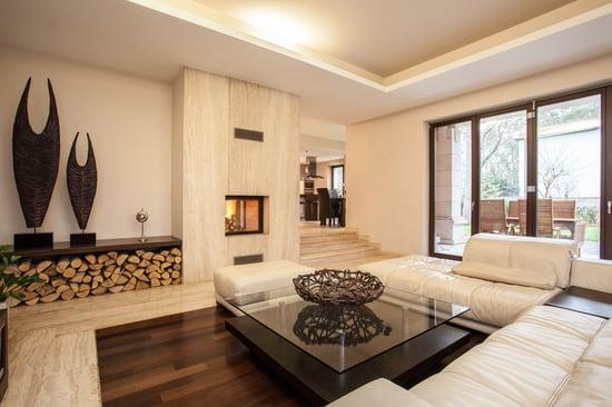 Travertine house interior of beige living room