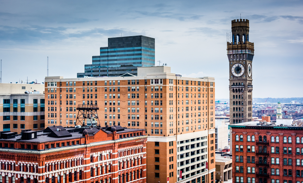 View of the Bromo-Seltzer Tower from a parking garage in Baltimore, Maryland.