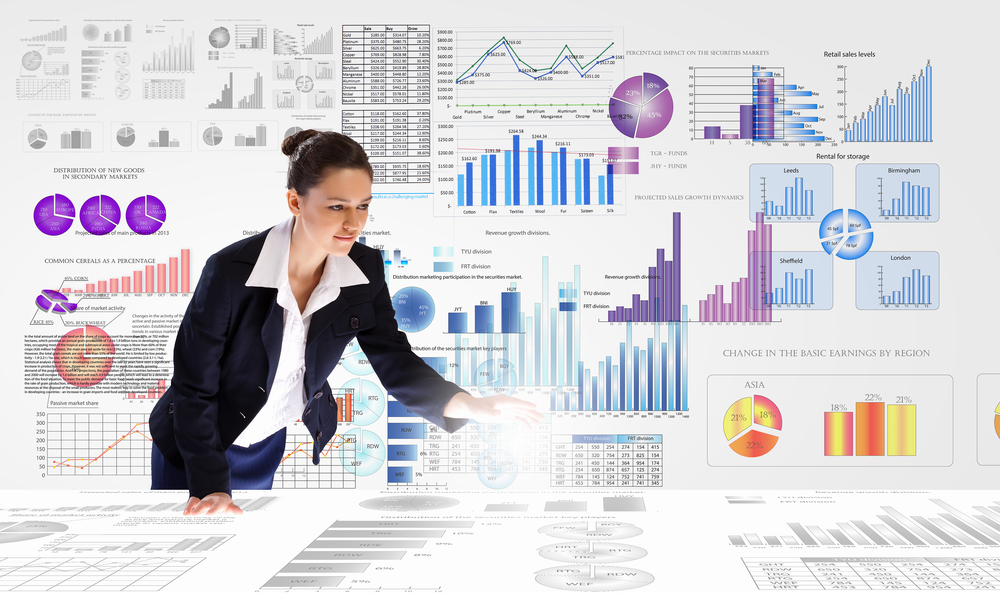 Young businesswoman analyzing data information of market-1