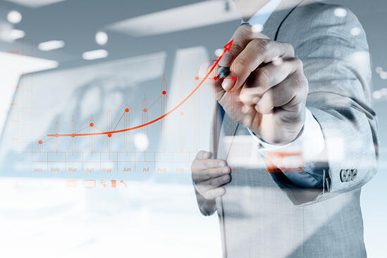 double exposure of businessman hand drawing virtual chart business on touch screen computer-1