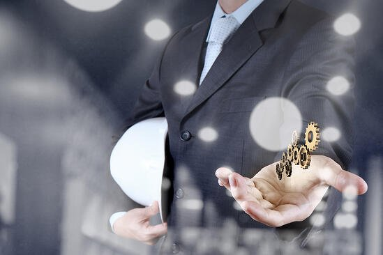 double exposure of businessman hand showing gear to success concept
