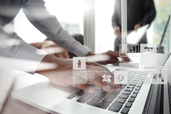 double exposure of new modern laptop computer with businessman hand working and business strategy as concept-1