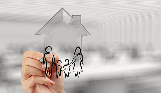 hand drawing 3d house with family icon as insurance concept-1