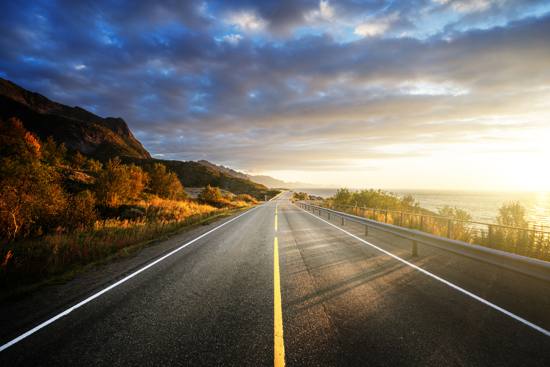 road by the sea in sunrise time,  Lofoten island, Norway-2