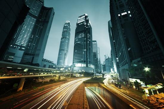 traffic in Hong Kong at sunset time-1