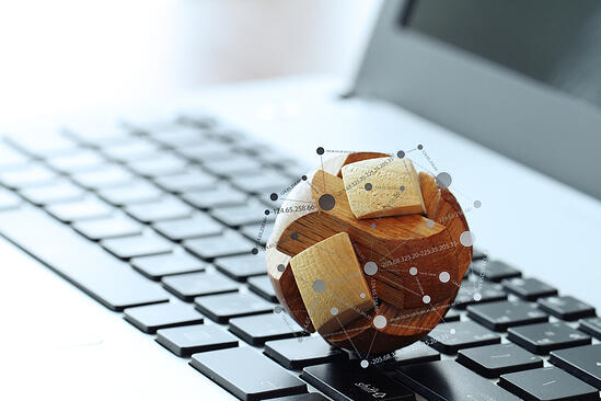 wooden texture globe with social media diagram on laptop computer as internet concept-1